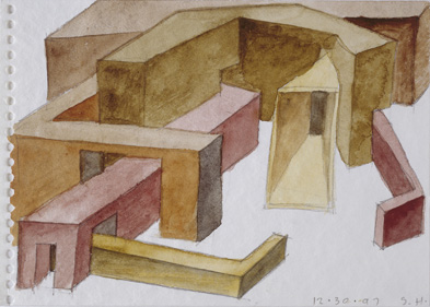 Steven Hall, Architectural Composition  1997 Watercolour and pencil on paper 12,3 x 17,4 cm