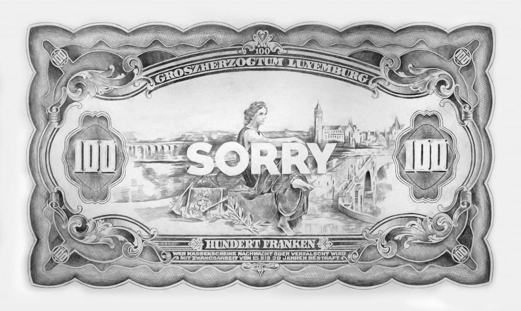 Filip Markiewicz Sorry, 2015 Dimensions : 250 x 150 cm Crayon sur papier © Filip Markiewicz