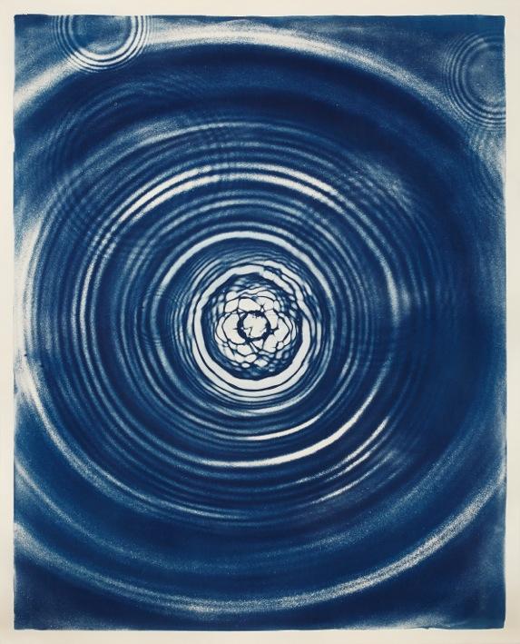 Water Drop - Evian (Danone Waters) Fotogramm übertragen mit Cyanotypie auf Aquarellpapier  143 x 15 cm - Unikat - 2015 Preis: 1.960.638,39 € (Teuerungsfaktor 1665)