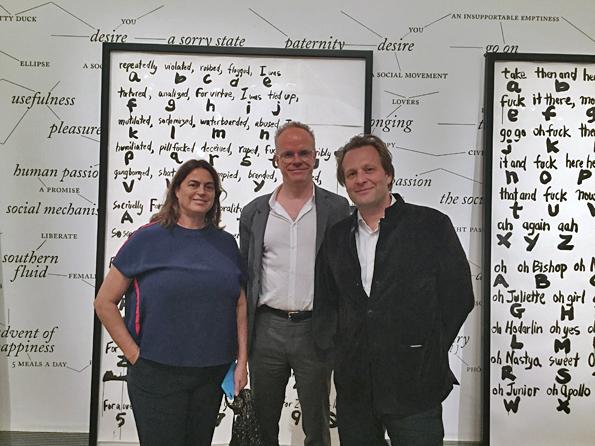 Collector Maja Hoffmann, curator Hans Ulrich Obrist and Moderna Museet director Daniel Birnbaum