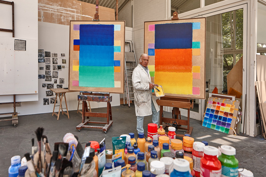 Heinz Mack im Atelier 2015 Foto: Archiv Heinz Mack, VG Bild-Kunst, Bonn 2015
