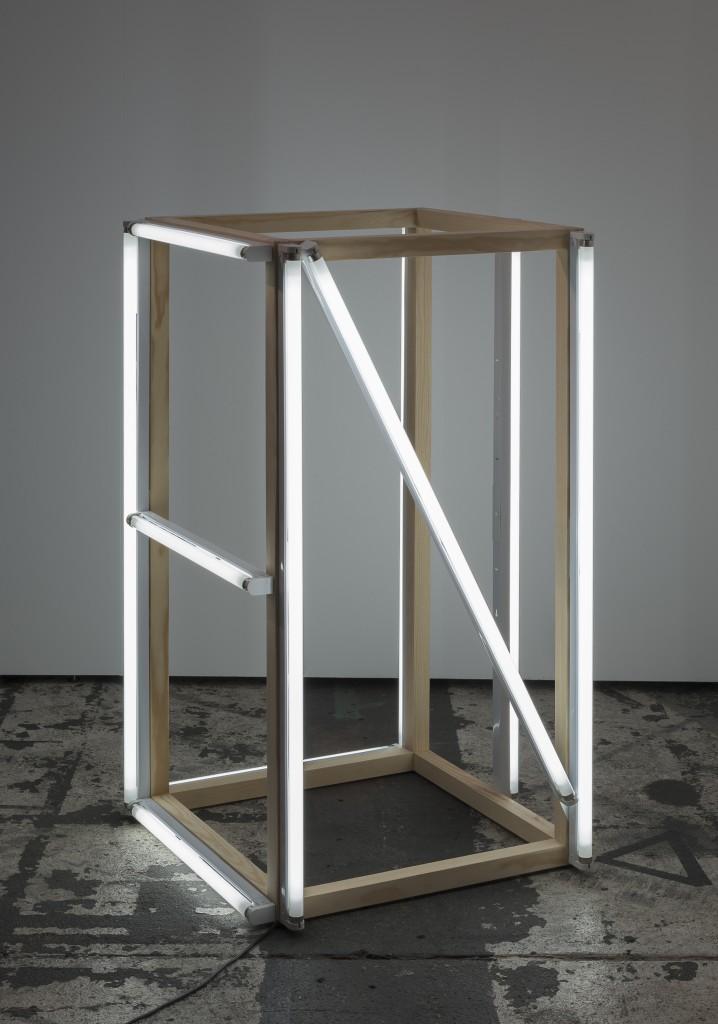 Karl Holmqvist | Untitled (Four-letter word sculpture NICE) | 2015 | wood fluorescent tubes |Ccourtesy the artist and Galerie Neu, Berlin