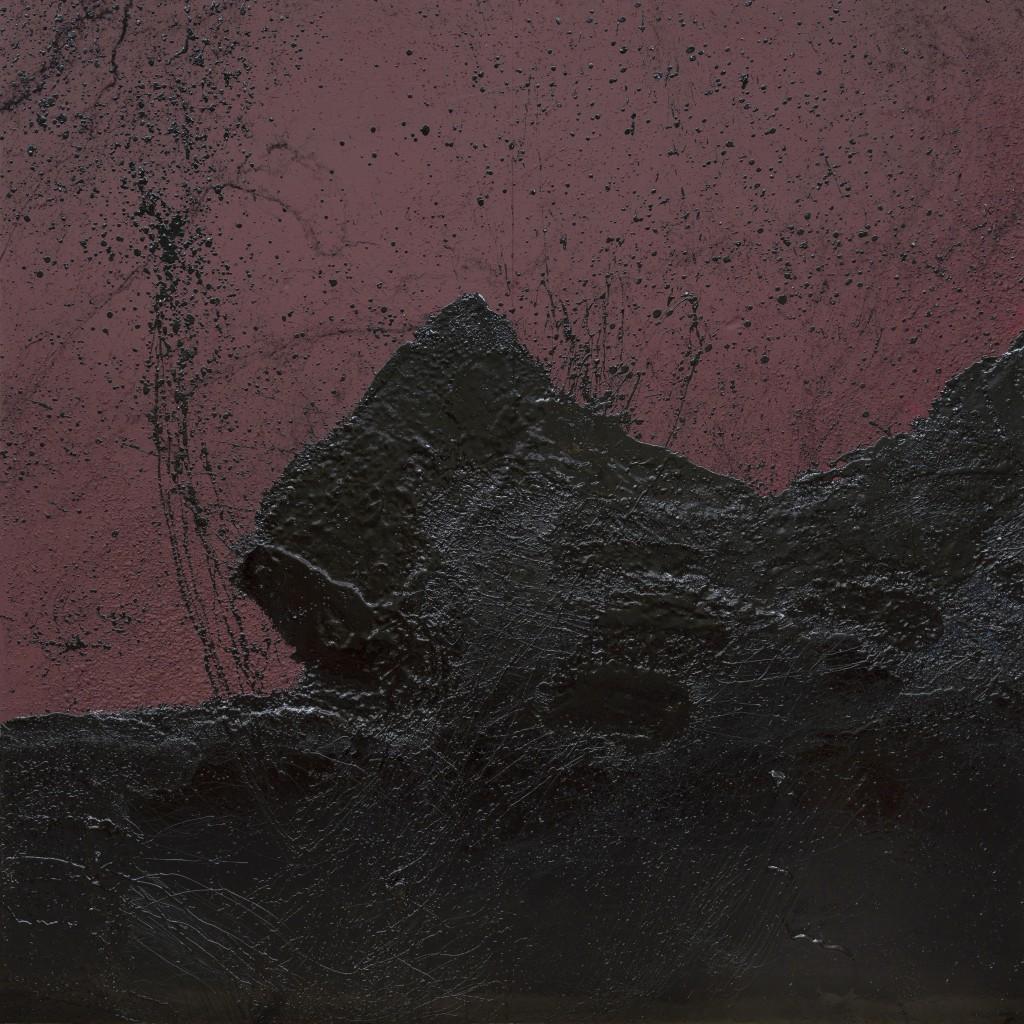 Tsunami, Teil I des Diptychons, 2014, Asphalt auf Holz, Farbe, Sand, Firnis, 250 x 250 cm, Foto: Arno Dietsche, © Scopin
