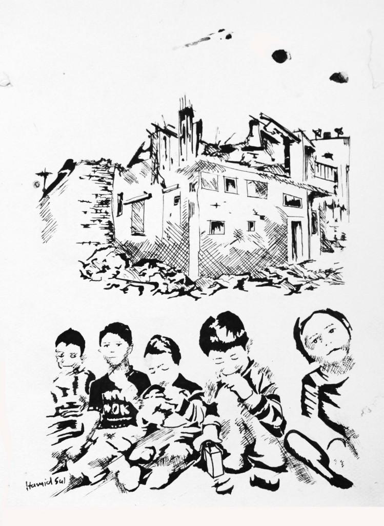 Hamid Sulaiman Brainwash project, 2013  Zeichnung, Tinte auf Papier // Drawing, ink on paper 26 x 21cm © Hamid Sulaiman Courtesy Galerie Crone / Nour Wali